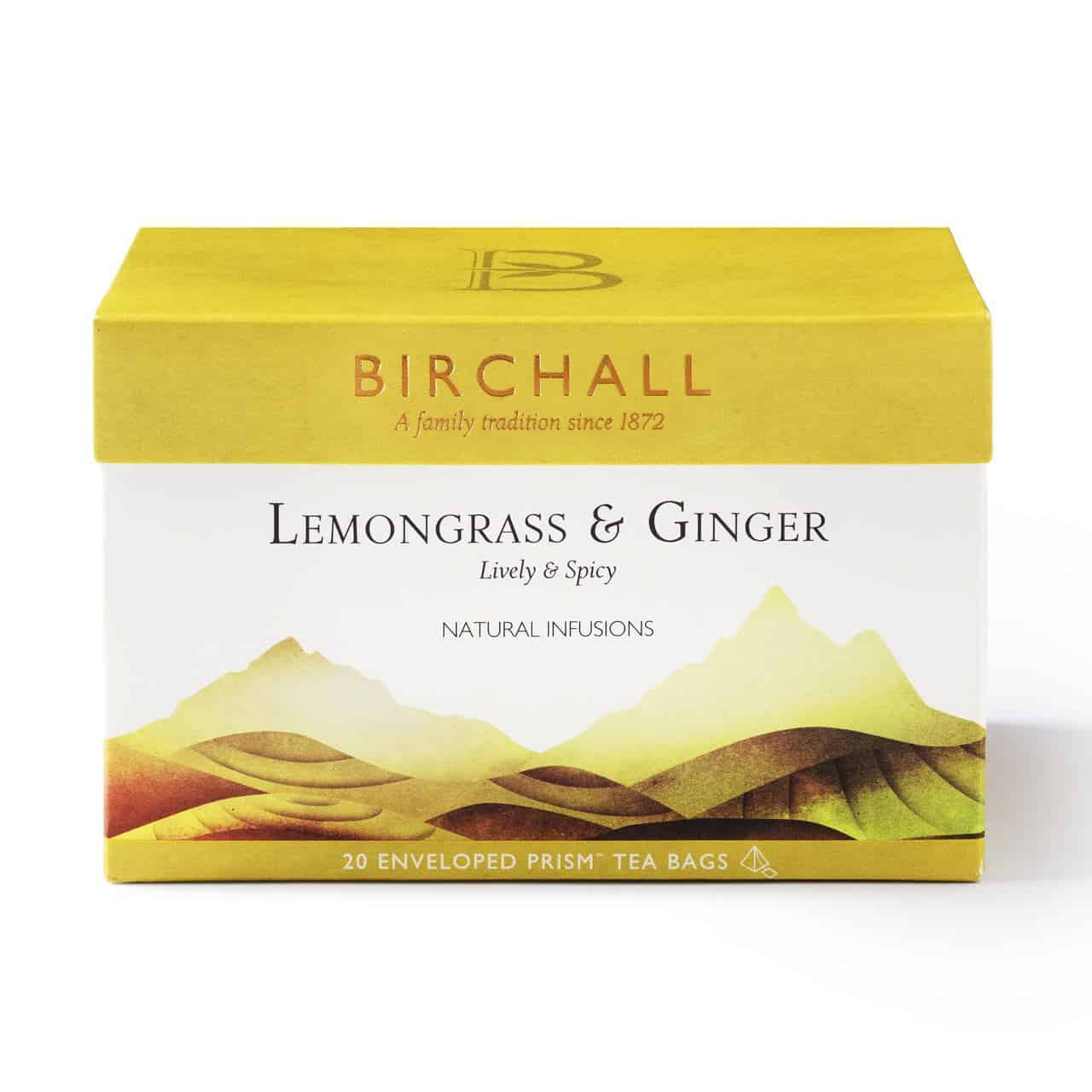 Birchall Lemongrass & Ginger - 20 Enveloped Prism Tea Bags