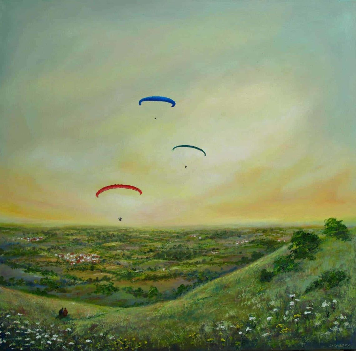 Paragliders-at-Devils-Dyke-100x100cm-south-downs-serena-sussex 1