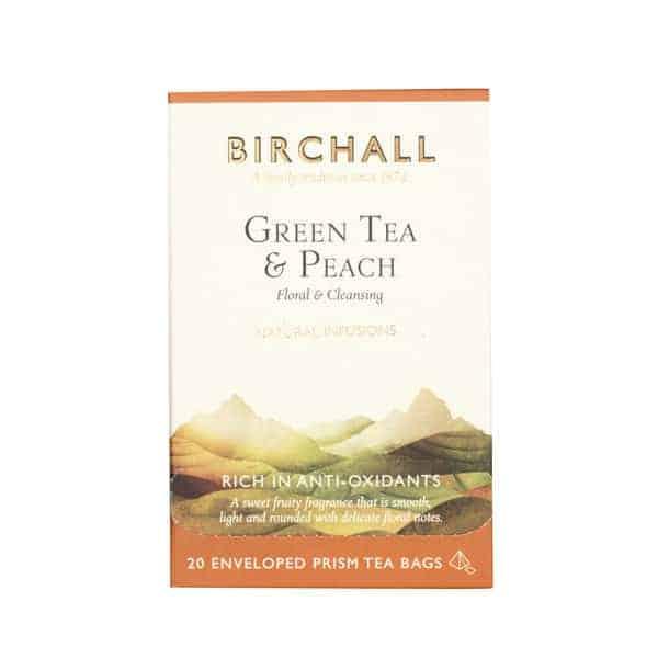 Birchall Green Tea & Peach - 20 Enveloped Prism Tea Bags