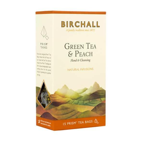 Birchall Green Tea & Peach - 15 Prism Tea Bags
