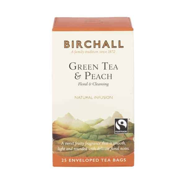 Birchall Green Tea & Peach - 25 Enveloped Tea Bags