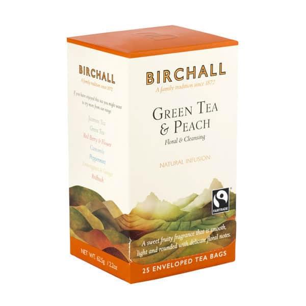 Birchall Green Tea & Peach - 25 Enveloped Tea Bags